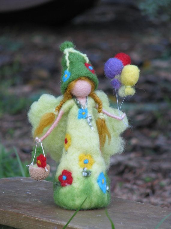 Needle felted birthday fairy waldorf inspired