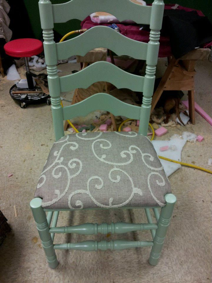 Ladder Back chair -Refinished and Upholstered