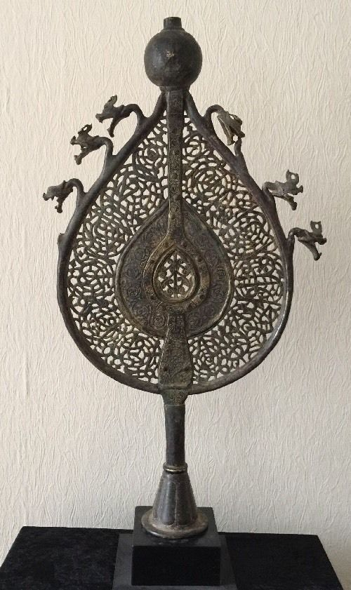 Extremely Important Antique Islamic Persian Safavid Large Bronze Standard   Alam