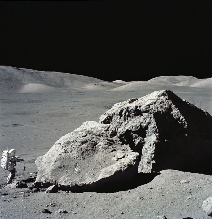Astronaut Harrison H. Schmitt during the third Apollo 17 extravehicular activity (EVA) at the Taurus-Littrow landing site on the moon. 13 December 1972