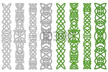 medieval border: Green celtic ornaments and elements for medieval embellishments Illustration