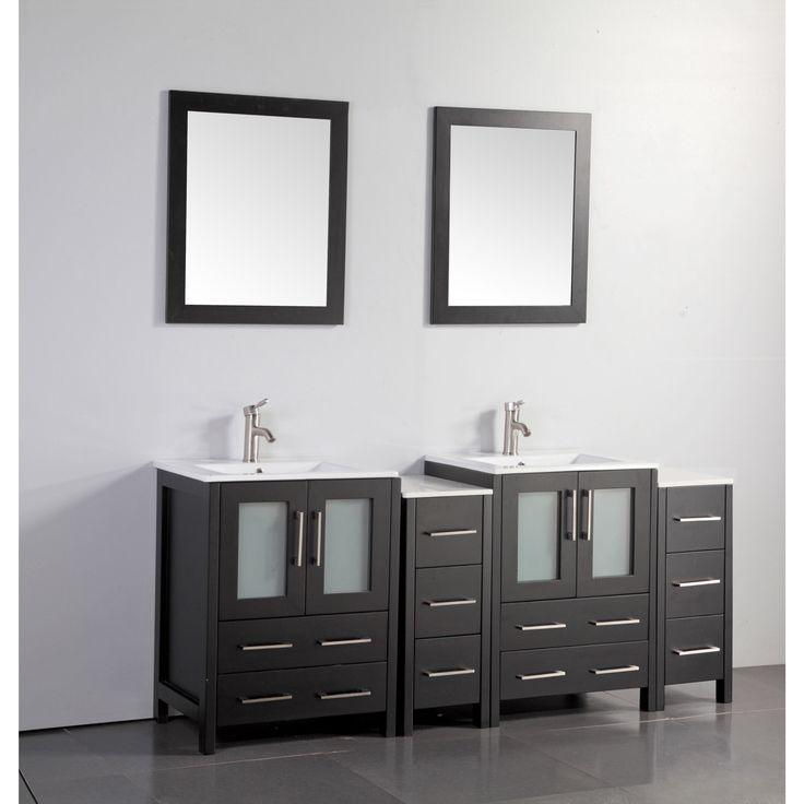 Vanity Art Oak 72 Inch Double Sink Ceramic Top Bathroom Vanity Set  (Espresso (