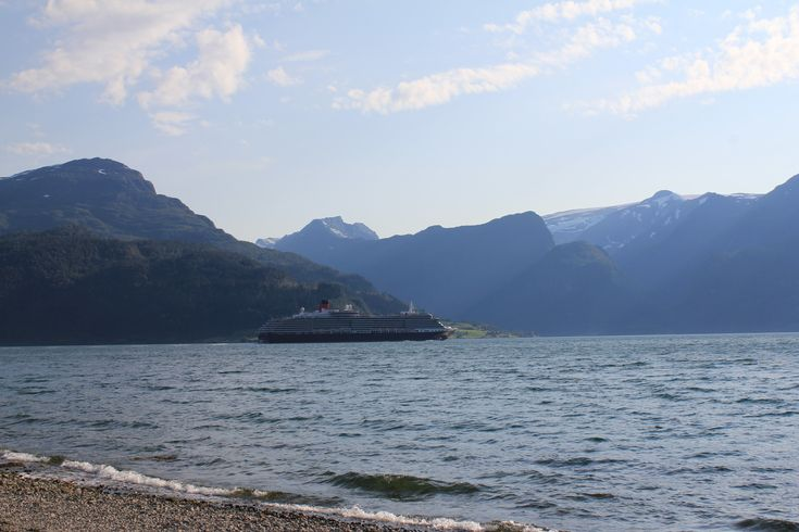 Lote. This cruiseship has been visiting Stryn at the vestcoast of Norway. Picture taken from the beach at Lote.
