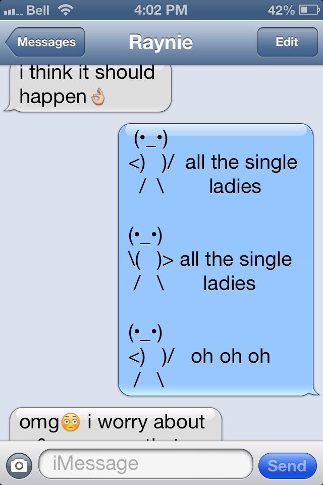Single ladies text message emoji