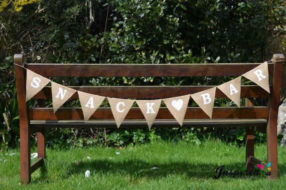 Hessian Fabric Bunting Banner Rustic Snack by inspiredcompany4u, £9.49