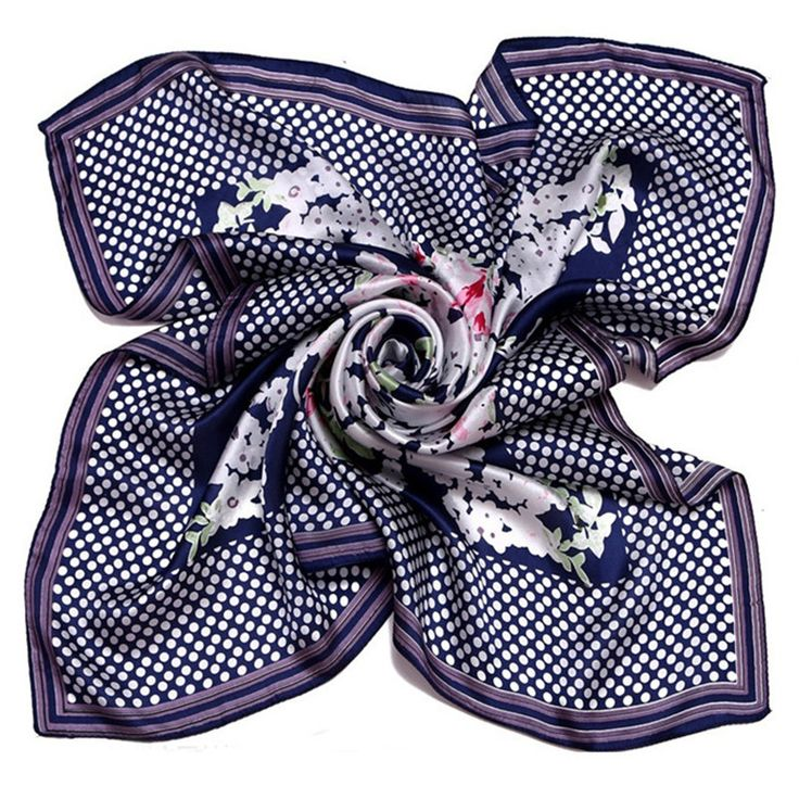 [LESIDA]Hot Sale Square Silk Women Scarf,Fashion Print Flowers Dot Shawl Female Pashmina Wrap,Foulard Islamic Hijab 9088 #Affiliate