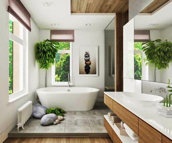 feng shui, badezimmer, grüne pflanzen, ovale, freistehende - pflanzen für badezimmer
