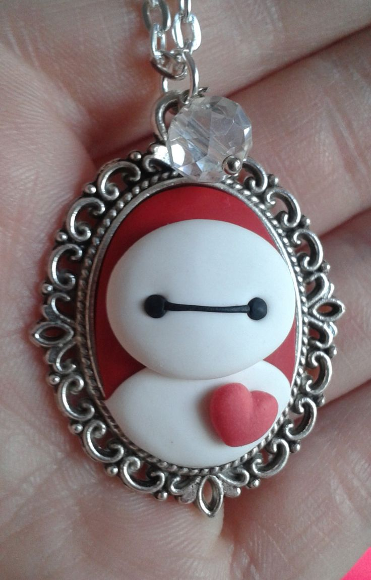 Polymer Clay Baymax Cameo Pendant Necklace by CharmingLittleFox on Etsy https://www.etsy.com/listing/231882841/polymer-clay-baymax-cameo-pendant
