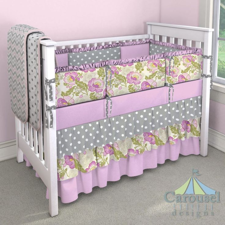 Crib bedding in Gray and White Polka Dot, Fuchsia Fresh Poppy, Solid Orchid, Gray Mini Swiss Cross, White and Gray Polka Dot, Pink and Gray Chevron, Pink Circles. Created using the Nursery Designer® by Carousel Designs where you mix and match from hundreds of fabrics to create your own unique baby bedding. #carouseldesigns