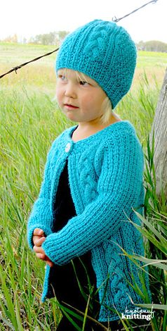 Knitting Pattern - Little Amelia hat and cardigan is a modern and seamless knit…