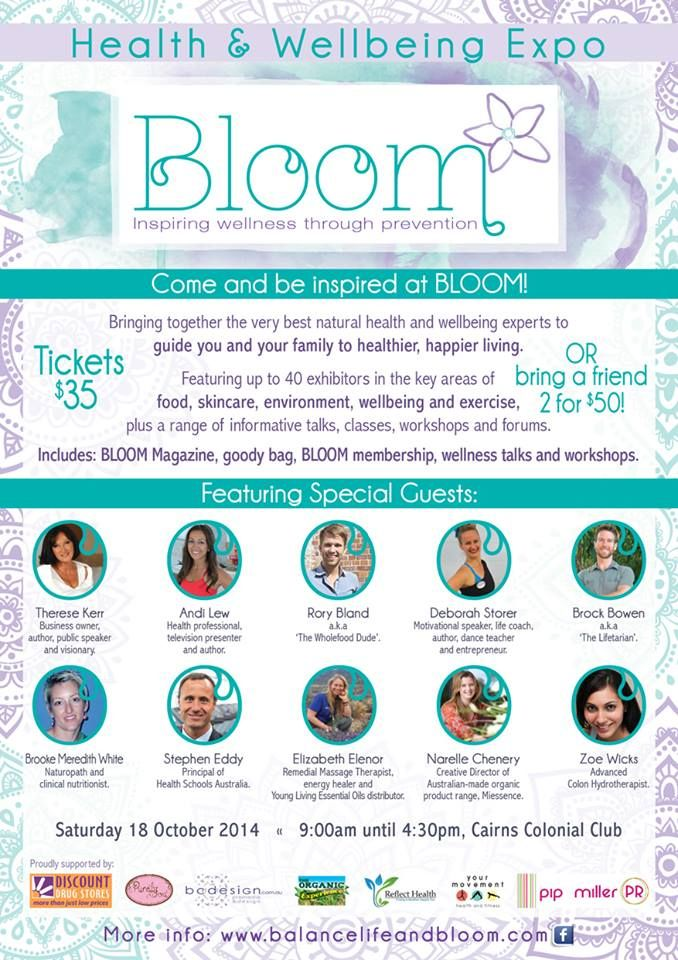 If you are in #Cairns on Saturday 18th October come along to the Bloom #Health & #Wellbeing Expo. #Miessence's own Narelle Chenery will be there along with the very best natural health and wellbeing experts to guide you and your family to a healthier, happier living.