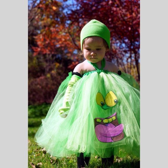 TuTu Dress Costume inspired by Slimer Ghost Busters, Infant/Toddler 1…