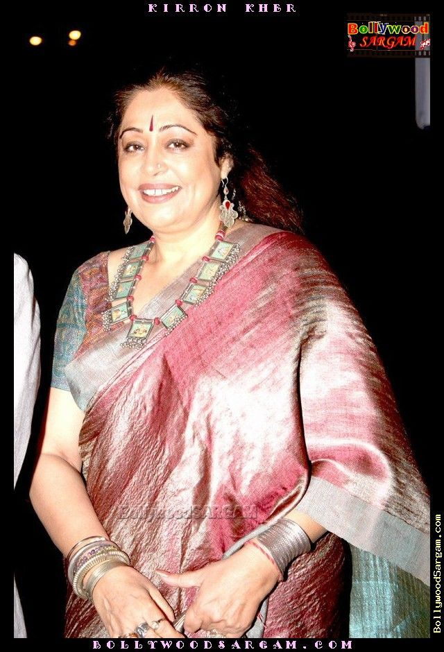 Kiron Kher in raw silk Saree with silver jewellery. Description by Pinner Mahua Roy Chowdhury.