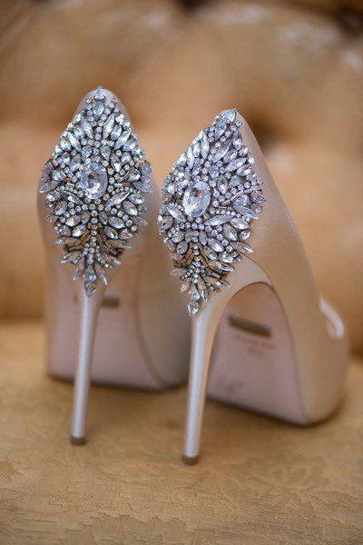 Glam wedding shoe idea - sparkly Badgley Mischka heel {Kelly Brown Weddings}