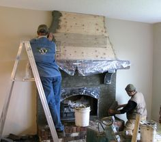 Creating an old world stone fireplace (without massive destruction.) | Funky Junk Interiors.  From HL:  For all you guys who got the house with the wimpy fireplace, here's a great make-over.  Except for the fake mantle, loved it.  I'd spring for a real wood.  Worth the look.