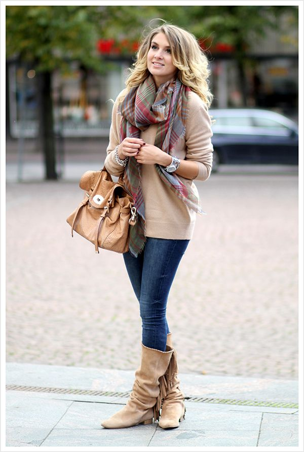 Zara V neck cashmere sweater, Mulberry blanket scarf, Zara fringe boots, Zara jeans,and Mulberry bag