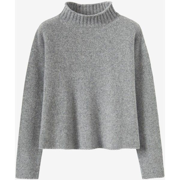 SOFT MERINO ROLL NECK SWEATER (€175) ❤ liked on Polyvore featuring tops, sweaters, rollneck sweaters, boxy top, merino wool top, merino top and boxy sweater