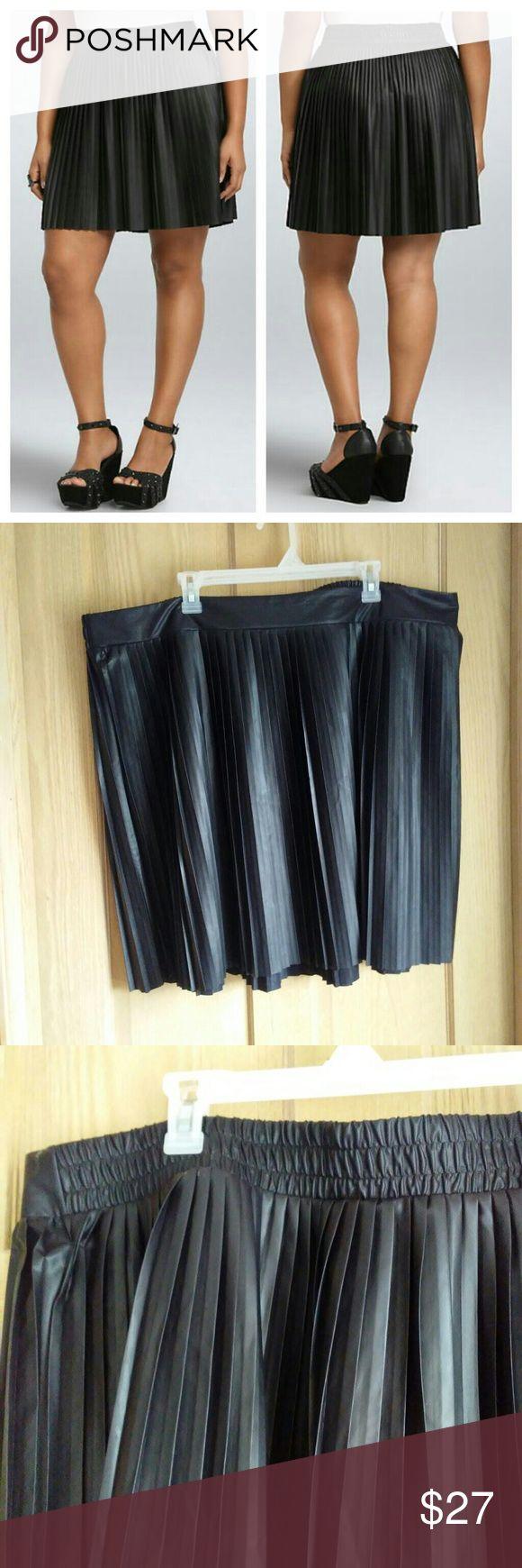 Torrid faux leather skater skirt Fun Torrid faux leather pleated skater skirt in great condition! torrid Skirts Circle & Skater