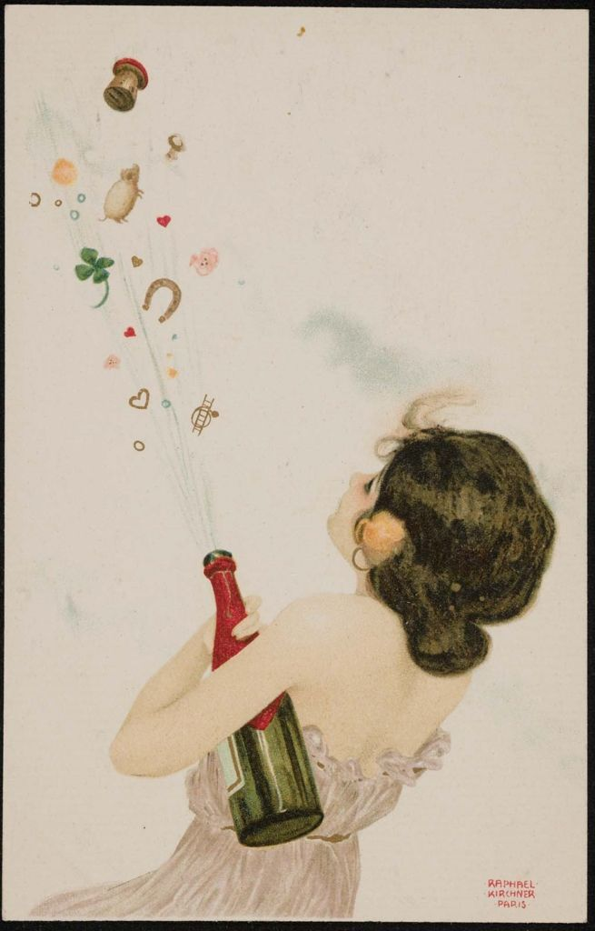 Champagne and lucky charms, from the series Girls with good luck charms German 1902 Artist Raphael Kirchner (1876–1917), Publisher Theodor Stroefer (German)