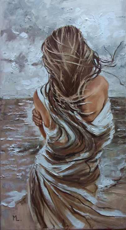 "Buy "" IT WAS COLD WITHOUT YOU ... ""- SEA SAND liGHt ORIGINAL OIL PAINTING, GIFT, PALETTE KNIFE, Oil painting by Monika Luniak on Artfinder. Discover thousands of other original paintings, prints, sculptures and photography from independent artists. #OilPaintingKnife #OilPaintingGirl"