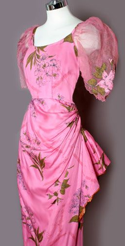 This is a very rare and stunning vintage dress from the 30's/40's. Art Deco style sarong skirt with stunning puffy sheer sleeves.