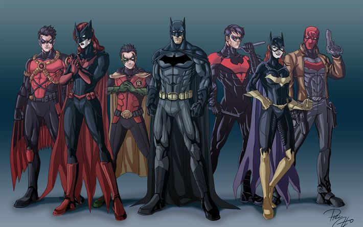 Batwoman, Batman, Robin, Nightwing, Red Hood, Red Robin, Batgirl, superheroes, Justice League, DC Comics