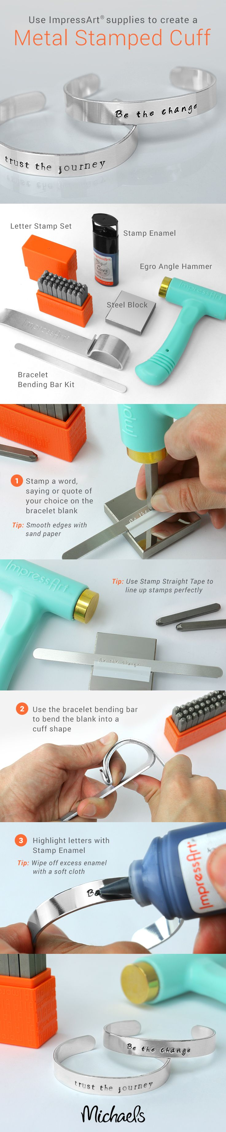 Spell it out and make an impression with this easy DIY Metal Stamped Cuff…
