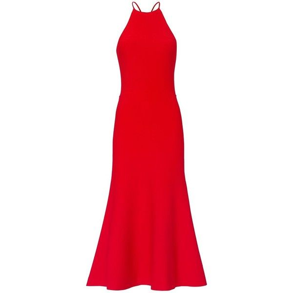 Alexander Wang Women's Red Knit Halter Dress ($950) ❤ liked on Polyvore featuring dresses, red, going out dresses, party dresses, lace up dress, red halter dress and red flare dress