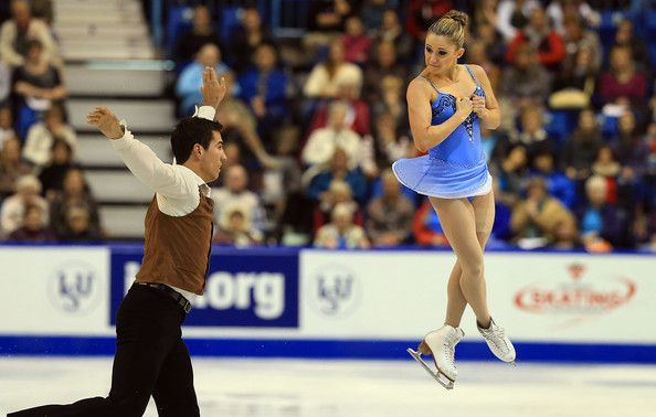 Paige Lawrence and Rudi Sweigers of Canada skate during the pairs free program 2013 Skate Canada, Pairs costume inspiration for Sk8 Gr8 Designs