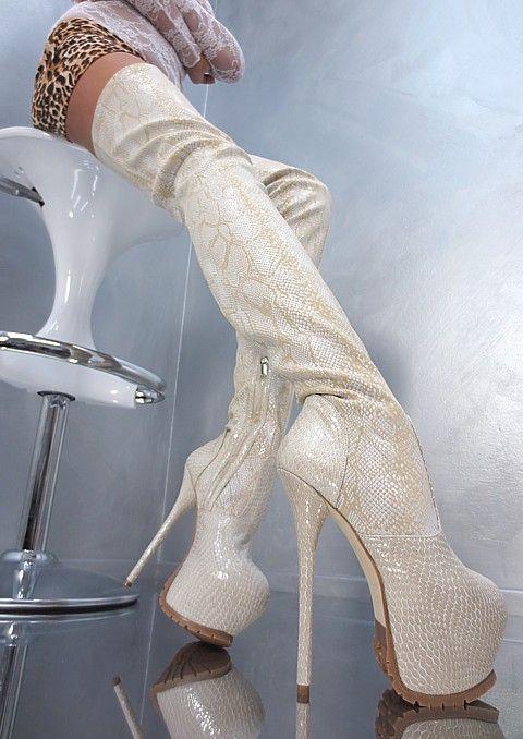 Sky High Platform Thigh High Boots Someone skinned an Albino python it looks... :(