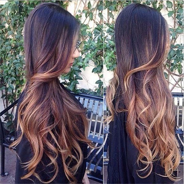 lunghi capelli con le extension ombre e highlights