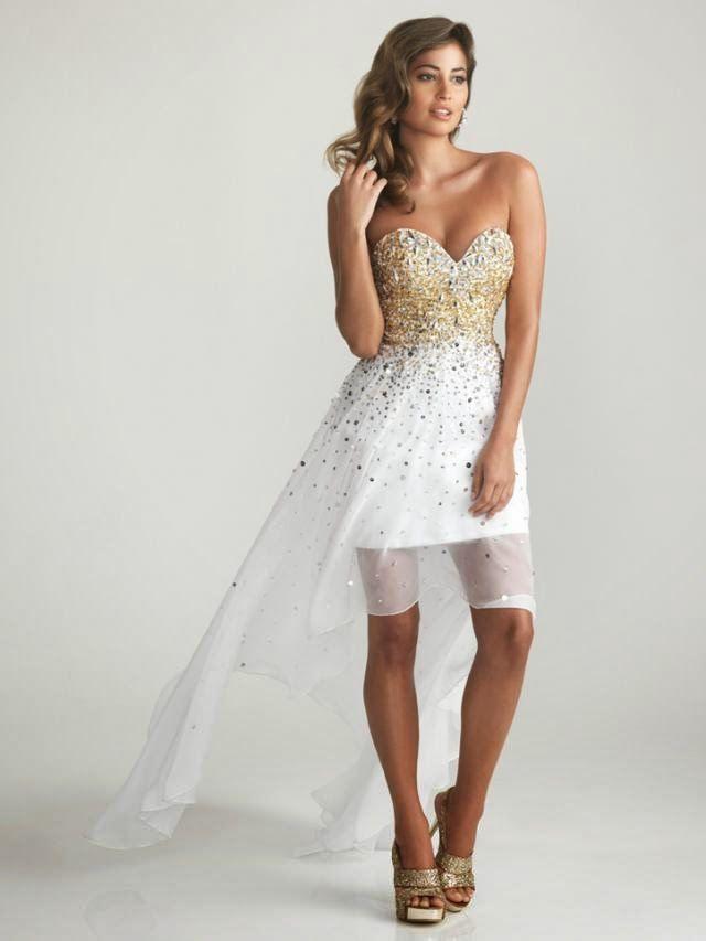Vestido blanco con dorado | Vestidos de fiesta