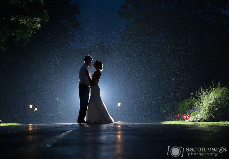 Rainy wedding, backlit rain photo, Shannopin Country Club. Aaron Varga Photography