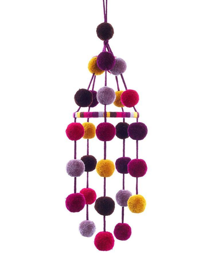 Fair Trade Handmade Pink, Purple & Yellow Pom Pom Mobile