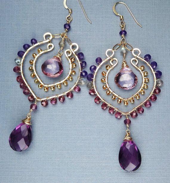 Exotic Bohemian Purple Gold Earrings Hoop Gemstone Earrings