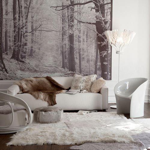 White Faux Fur Wallpaper | Net zoals de koeienhuid vloerkleed, is een schapenvacht vloerkleed ook ...