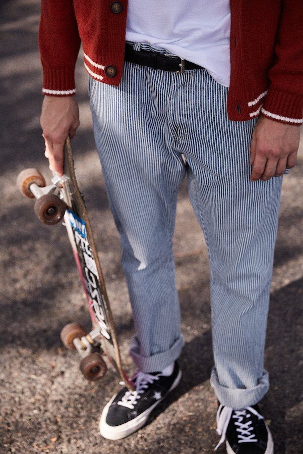 Hickory stripe pants/trousers & v. Cool jacket
