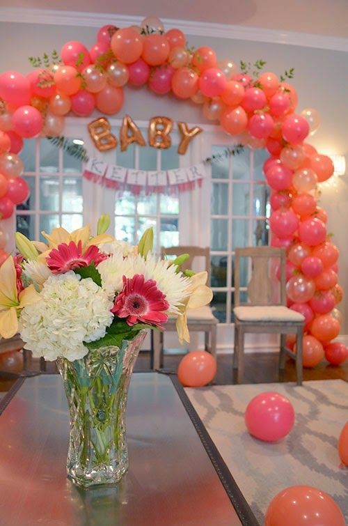 """DIY """"Ready to Pop"""" Baby Shower, balloon arch, pink, coral, pearl, peach"""