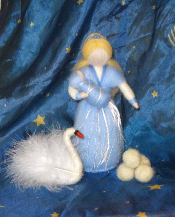 Winter Fairy with Swan, Winter Nature Table, Blue Flower Faerie Doll with Baby, Nursery, Blessing, Waldorf, Magic Wool, needle felted by PeachCreation