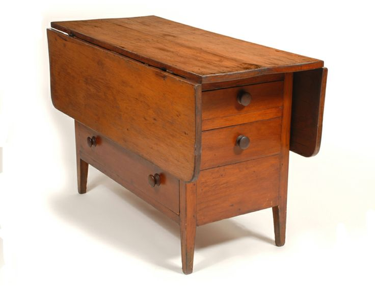 """DROP LEAF WORK COUNTER 1840, Pine, natural varnish finish, hinged leaf in front with full drawer below, two graduated drawers on both ends, on square tapered leg, New Lebanon, NY, c. 1840, 29"""" h, 46"""" w, 19"""" d.~♥~"""