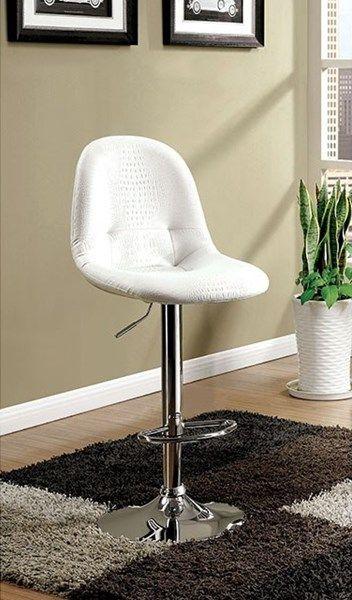 Shea White Faux Leather Metal Foam Tori Adjustable Height Bar Chair