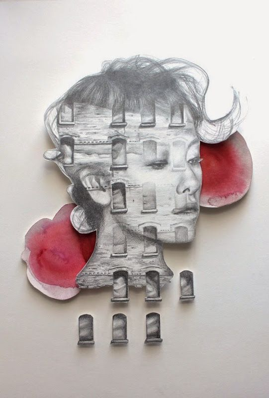 cut paper collages and drawings by christine kim