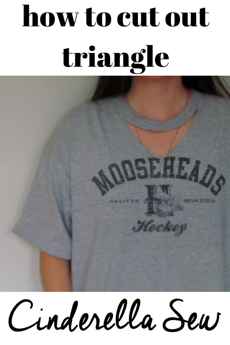 how to cut choker style tshirt. cut triangle out of front of tshirt under collar. easy diy tshirt ideas! click for video tutorial