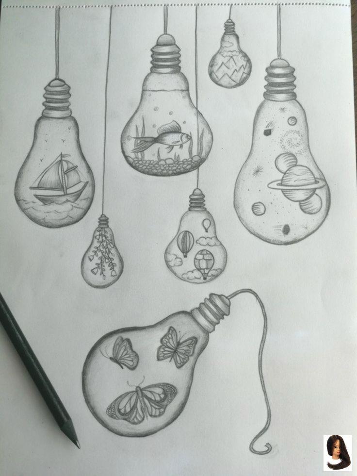 #drawing ideas #Glühbirnenzeichnungen Light bulb drawings – –        #Zeichnung…