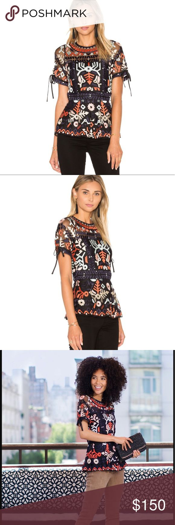 """Parker Shannon Top XS Gorgeous detailed embroidered print Parker """"Shannon"""". Size XS/ would fit a small also. Originally purchased online from REVOLVE. Originally paid $298. Excellent condition, only worn once ❤️ Parker Tops Blouses"""