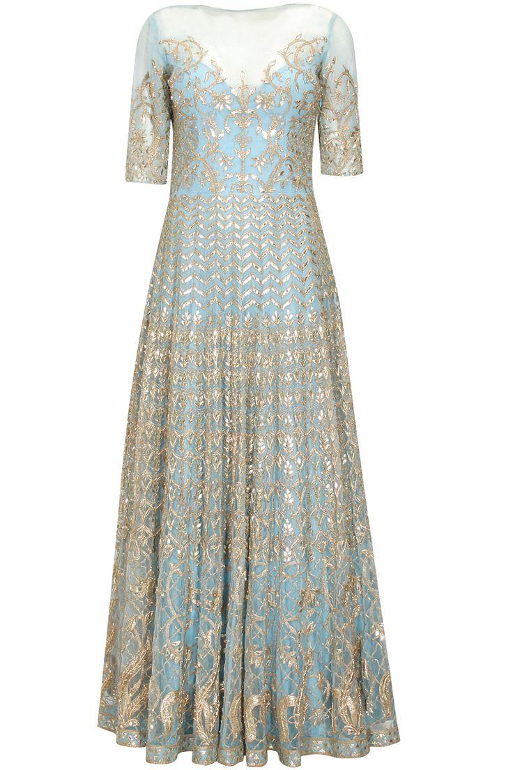Powder blue gota patti work nityasha gown at Pernia's Pop Up Shop.