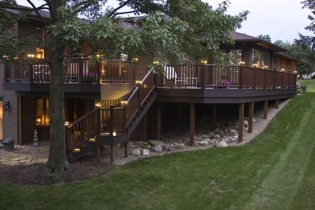 #Trex decking and lighting has never looked so good! Check out this custom built #deck made by Woodland Deck Company in Doylestown, Ohio. Click on the image to visit their website.