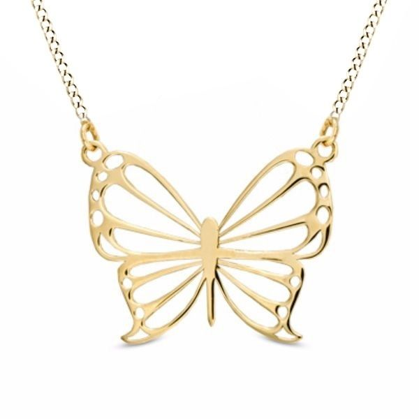 10k Solid Gold Butterfly Pendant With 18 Butterfly Pendant Necklace Gold Butterfly