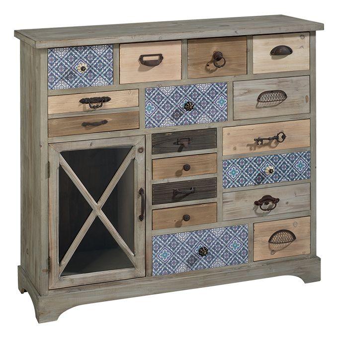 Mobiletto O1342     mobiletto in legno con 17 cassetti ed una vetrinetta; alcuni cassetti sono decorati con un pattern che richiama gli azulejos portoghesi, maniglie miste in metallo  dimensione: 99,5x34x95