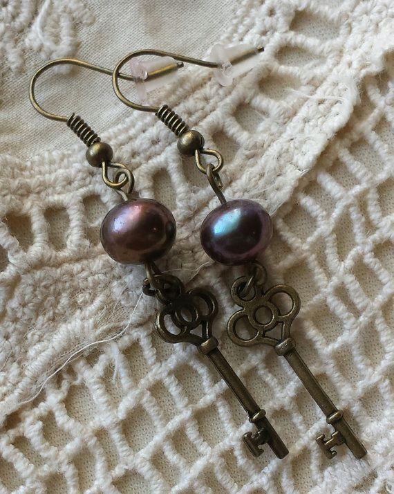 Key Earrings by GypsyJunkStudio on Etsy